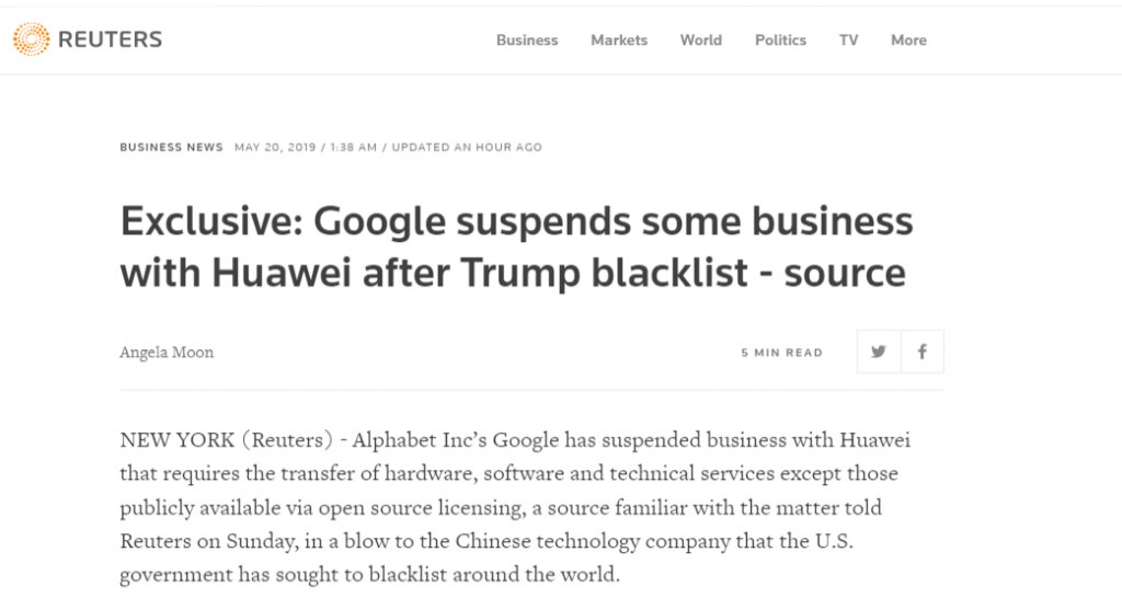 reuter report on huawei losing the Anxroid Google Suipport